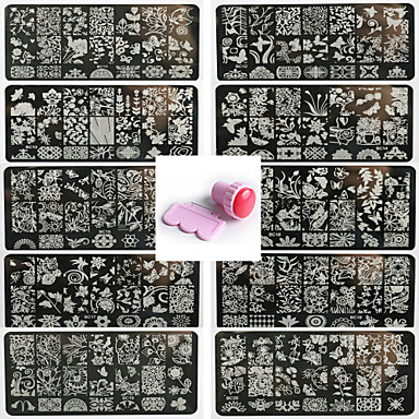 cheap Nail Stamping-10PCS Nail Art Seal Template Nail Lace Pattren Give 1 Set Seal Tool 12x6CM