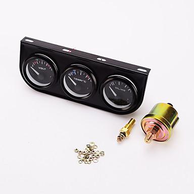 iztoss 52mm triple mätare 3 i en (voltmeter + vatten temp mätare + olja press gauge) sensor 52mm auto gauge bil meter