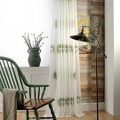 skräddarsydda ren gardiner nyanser två paneler / broderi / vardagsrum