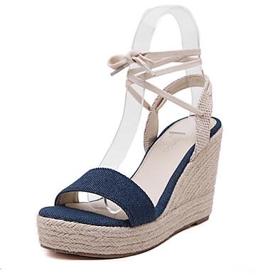 Shoes For Women Denim Wedge Heel Open Toe Sandals Party Evening Dress Dress Black Blue