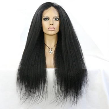 Äkta hår Halvnät utan lim Hel-spets Spetsfront Peruk stil Brasilianskt hår Rak Kinky Rakt Peruk 130% 150% Hårtäthet med babyhår Naturlig hårlinje Afro-amerikansk peruk 100 % handbundet Dam Korta