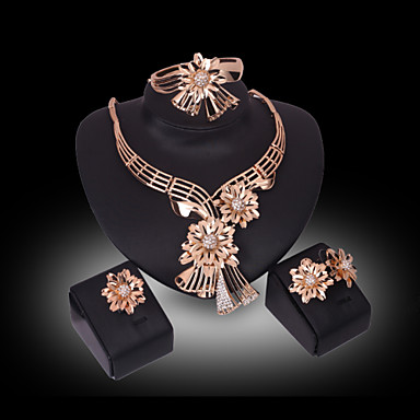 cheap Floral Jewelry-Women's Crystal Synthetic Diamond Jewelry Set Flower Flower Ladies Luxury 18K Gold Plated Rhinestone Gold Plated Earrings Jewelry Gold For Wedding Party / Imitation Diamond / Rings / Necklace