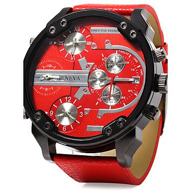 levne Pánské-Pánské Vojenské hodinky Křemenný Velkoformátové Kůže Černá / Modrá / Červená Kalendář Hodinky s dvojitým časem Hodinky s trojitým časem Analogové Luxus - Oranžová Červená Modrá Jeden rok Životnost