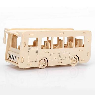 levne 3D puzzle-Puzzle 3D puzzle Dřevěné puzzle Stavební bloky DIY hračky Autobus Dřevo Zlatá Modelování