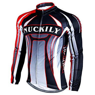 Nuckily Men s Long Sleeve Cycling Jersey - Red Patchwork Bike Jersey Top  Waterproof Thermal   Warm Windproof Sports Winter Polyester Velvet Fleece  Mountain ... e60e85241