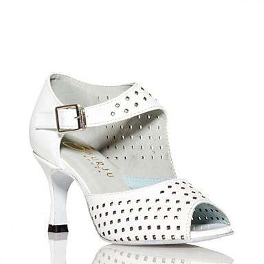 Mulheres Sapatos de Dança Latina Couro Sintético Fecho Gancho-S Sandália Presilha Salto Cubano Personalizável Sapatos de Dança Preto / Branco / Espetáculo