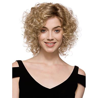 Syntetiska peruker Lockigt Lockigt Peruk Blond Korta Blond Syntetiskt hår Dam Blond StrongBeauty