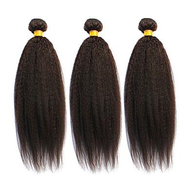 3 paket Brasilianskt hår Rak Kinky Rakt Äkta hår Human Hår vävar Hårförlängning av äkta hår Människohår förlängningar / 8A