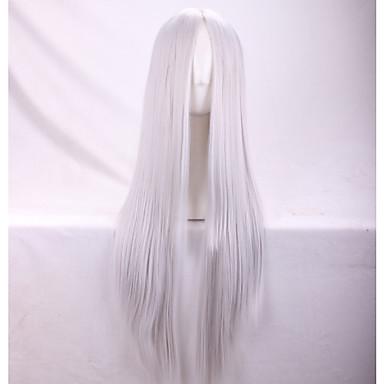 Syntetiska peruker Rak Yaki Rak Yaki Asymmetrisk frisyr Peruk Lång Silver Syntetiskt hår Dam Naturlig hårlinje Silver