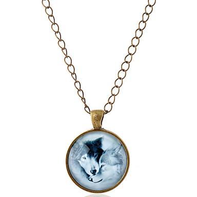 voordelige Dames Sieraden-Heren Dames Hangertjes ketting Dier Wolf Eenvoudige Stijl Edelsteen Glas Legering Zilver Bronzen Kettingen Sieraden Voor Feest Dagelijks Causaal