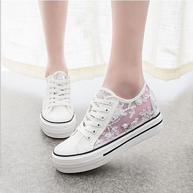 Womens Mesh Sneakers Breathable Canvas Tulle Platform Comfort   Round Toe  Fashion Sneakers Outdoor   Casual Black   White 4928870 2018  2499
