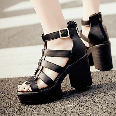 2e469d704d1 Women s Shoes Chunky Heel Platform Gladiator Open Toe Sandals Heels Party    Evening Dress Casual Black White 4952895 2019 –  34.99