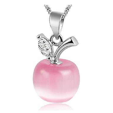 Dam Syntetisk Opal Hänge Halsband Apple damer Mode Sterlingsilver Silver Vit Rosa Halsband Smycken Till Dagligen Casual