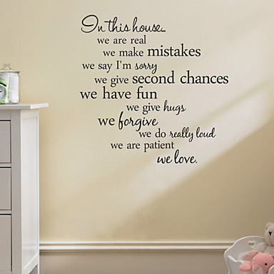 cheap Wall Stickers-Abstract / Words & Quotes Wall Stickers Words & Quotes Wall Stickers Decorative Wall Stickers, PVC(PolyVinyl Chloride) Home Decoration Wall Decal Decoration / Removable / Re-Positionable