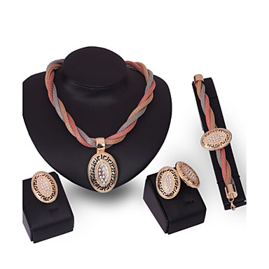 levne Dámské šperky-Dámské Sady šperků Prohlášení Přizpůsobeno Vintage Módní Štras Náušnice Šperky Zlatá Pro Svatební Zvláštní příležitosti Výročí Narozeniny Gratulace / Prstýnky