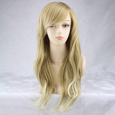 Syntetiska peruker Lockigt Naturligt vågigt Naturligt vågigt Asymmetrisk frisyr Peruk Blond Lång Blond Syntetiskt hår Dam Naturlig hårlinje Blond