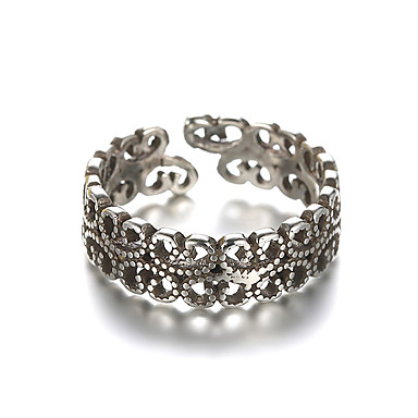 Bandring Justerbar ring tumring Silver Sterlingsilver Silver damer Ovanligt Unik design Dagligen Casual Smycken Billig