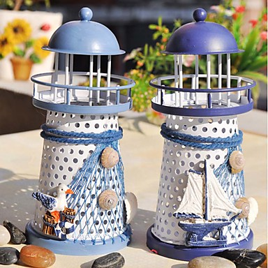cheap Candles & Candleholders-The Mediterranean Lighthouse Candlestick Candleholder Candle Stand Light Holder Lantern Home Decoration