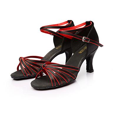 ราคาถูก รองเท้าเต้นราคาถูก-สำหรับผู้หญิง รองเท้าเต้นรำ ซาติน ลาติน / Salsa หัวเข็มขัด รองเท้าแตะ ส้นแบบกำหนดเอง ตัดเฉพาะได้ น้ำตาล / ทอง / น้ำเงินรอยัล / หนังสัตว์ / EU40