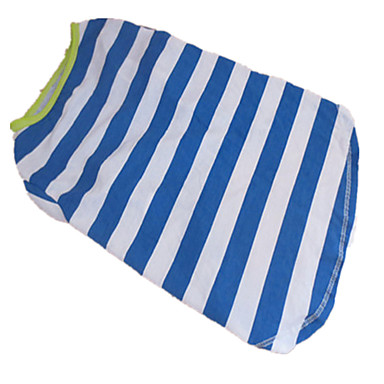 Hund T-shirt Hundkläder Rand Vit / Blå Cotton Kostym Till Sommar