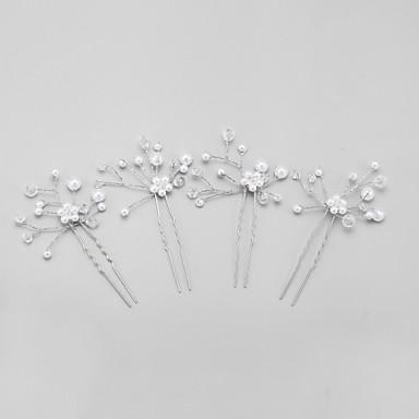 Kristall / Oäkta pärla / Legering Huvudbonad / Hårpinne med Blomma 1st Bröllop / Speciellt Tillfälle Hårbonad