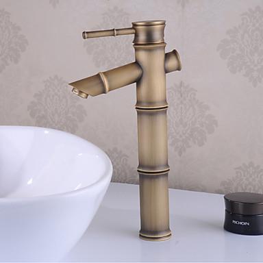 Badrum Tvättställ Kran - Vattenfall Antik mässing Centerset Singel Handtag Ett hålBath Taps