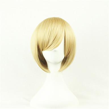 billige Kostymeparykk-Syntetiske parykker Kostymeparykker Rett Stil Asymmetrisk frisyre Parykk Blond Kort Blond Syntetisk hår Dame Naturlig hårlinje Blond Parykk