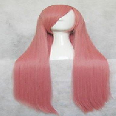 Cosplay Peruker Syntetiska peruker Rak Rak Peruk Rosa Väldigt länge Rosa Syntetiskt hår Rosa