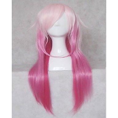 Cosplay Peruker Syntetiska peruker Rak Rak Peruk Rosa 20 inch Lång Rosa Syntetiskt hår Dam Rosa hairjoy