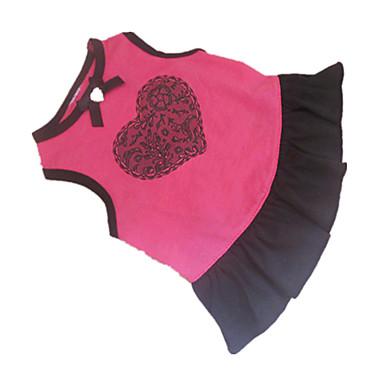Hund Klänningar Hundkläder Hjärta Rosa Cotton Kostym Till Sommar