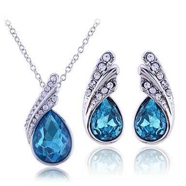 cheap Jewelry Sets-Women's Cubic Zirconia Jewelry Set Necklace / Earrings Pear Cut Solitaire Drop Ladies Sterling Silver Zircon Rhinestone Earrings Jewelry White / Purple / Blue For Wedding Party Birthday Engagement