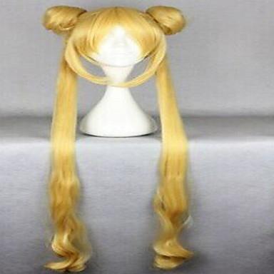 billige Kostymeparykk-Syntetiske parykker Vann Bølge Stil Parykk Blond Veldig lang Blond Gul Syntetisk hår Dame Blond Gul Parykk hairjoy