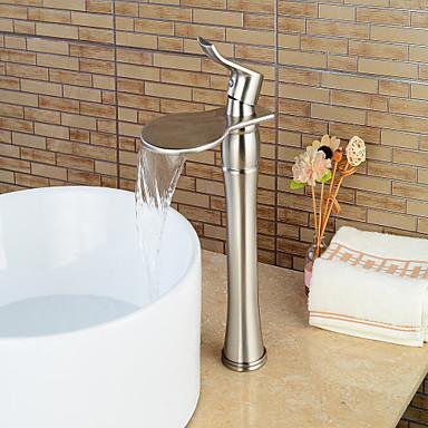 Badrum Tvättställ Kran - Vattenfall Nickelborstad Centerset Singel Handtag Ett hålBath Taps