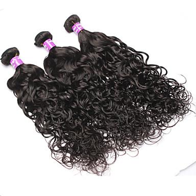 povoljno Ekstenzije od ljudske kose-3 paketa Brazilska kosa Wavy Ljudska kosa Ljudske kose plete Isprepliće ljudske kose Proširenja ljudske kose / 8A