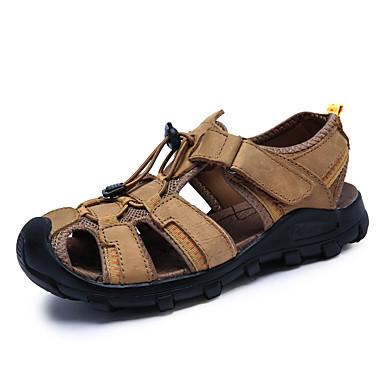 Hombre Zapatos Cuero de Napa Primavera Verano Confort Sandalias Agua para Casual Al aire libre Vestido Morrón Oscuro QoCBN4ha