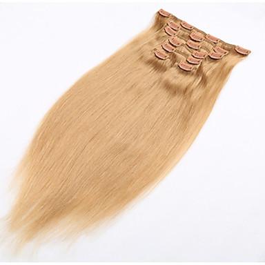 voordelige Extensions van echt haar-PANSY Clip-in Extensions van echt haar Recht Mensen Remy Haar Echt haar Braziliaans haar Gemiddeld bruin / bleekblond