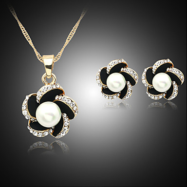 cheap Jewelry Sets-Women's Pearl Jewelry Set Necklace / Earrings Flower Ladies Pearl Imitation Pearl Rhinestone Earrings Jewelry Black / Navy / Blue For Wedding Party Daily / Silver Plated