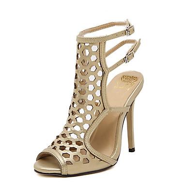 2309 Mujer Zapatos Semicuero Verano Tacón Stiletto Para Vestido Negro Dorado