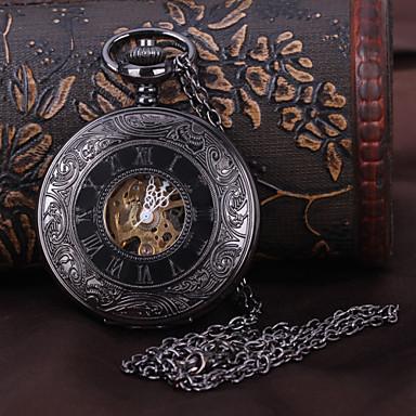 levne Pánské-Pánské Kapesní hodinky mechanické hodinky Automatické natahování Černá S dutým gravírováním Analogové Luxus Steampunk - Černá