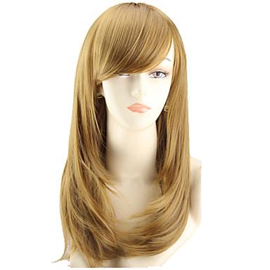 Cosplay Peruker Syntetiska peruker Rak Vågigt Asymmetrisk frisyr Peruk Mellan Gul Syntetiskt hår Dam Naturlig hårlinje Brun