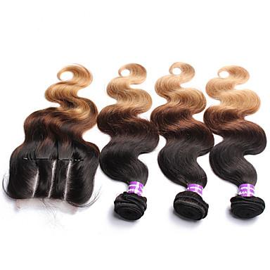 4 paket Malaysiskt hår Kroppsvågor Obehandlad hår Hår Inslag med Stängning Hårförlängning av äkta hår Människohår förlängningar