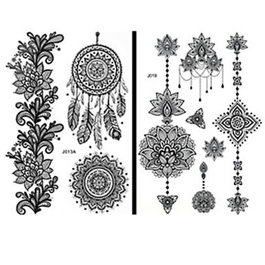 15 pcs tillfälliga tatueringar Vattentät / Spets / Ogiftig Ansikte / händer / brachium Papper Tatueringsklistermärken / Mönster / Ländrygg