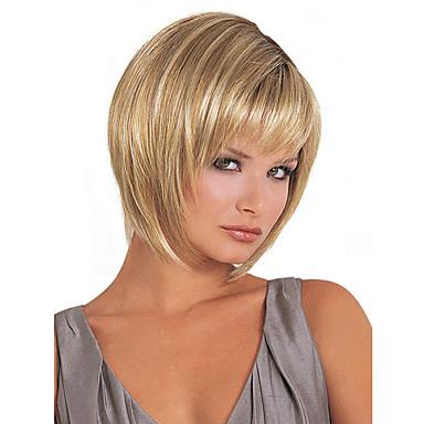 Peruki Syntetyczne Prosta Blond Fryzura Bob Z Grzywką Blond Włosie