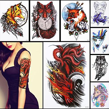 8pcs Belleza 3d Calcomania Tatuaje Temporal Ferocidad De Nueve Colas