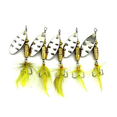 10 pcs Fiskbete Spinnfluga Skedar Sjunker Fastsjunkande Bass Forell Gädda Sjöfiske Färskvatten Fiske Andra Fjäder Metall / Drag-fiske / Generellt fiske