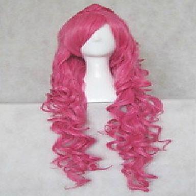 billige Kostymeparykk-Syntetiske parykker Kostymeparykker Bølget Naturlige bølger Stil Monofilament L-del Halv Capless Parykk Rosa Syntetisk hår Dame Parykk hairjoy