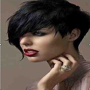 Syntetiska peruker Rak Lockigt Lockigt Rak Peruk Korta Svart Syntetiskt hår 6 tum Dam Svart hairjoy