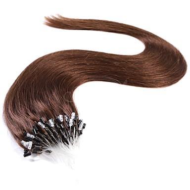 povoljno Ekstenzije za kosu-Ekstenzije s mikro ringom Proširenja ljudske kose Ravan kroj Ljudska kosa Ekstenzije od ljudske kose Euroazijska kosa Crna Tamnosmeđa 1pack Nježno Visokog sjaja Žene Žene # 27