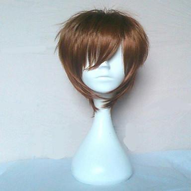 billige Kostymeparykk-Syntetiske parykker Rett Stil Parykk Brun Syntetisk hår Brun Parykk