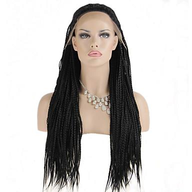 Syntetiska snörning framifrån Kinky Curly Sexigt Lockigt Spetsfront Peruk Syntetiskt hår Dam Flätad peruk Afrikanska flätor Svart
